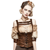 Steampunk Black And Brown Accessories Camisole Women Slim Corset Vest Fashion Sexy Backless Pu Leather Waistcoat