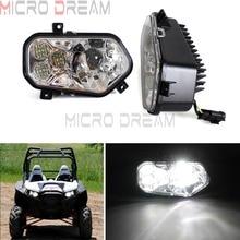 1 Pair Chrome LED UTV Headlight DOT Replacement Head Lights Lamp For Polaris RZR 800 4 XP 900 EFI Ranger Sportsman 2011-2014