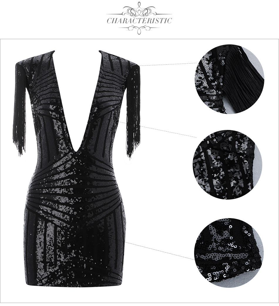 Hot Summer Sequined Bandage Mini-Dress
