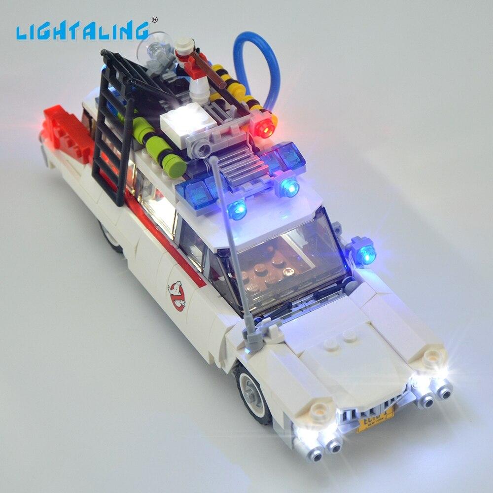 Lightaling LED Light Kit för Ghostbusters Ecto-1 Leksaker Kompatibla med Märke 21108 Byggstenar Tegelstenar USB Charge