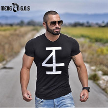 2017Brand men's t-shirt Fitness and bodybuilding Short sleeve t shirts Fashion Leisure Muscle Men Slim fit personality tees tops