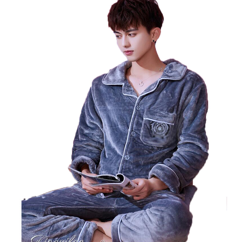 Men's Pajamas Winter Men Pyjama Set Cardigans Long Sleeve Sleepwear For Men Nightwear Thick Warm Coral Fleece Pijama Suit Sets