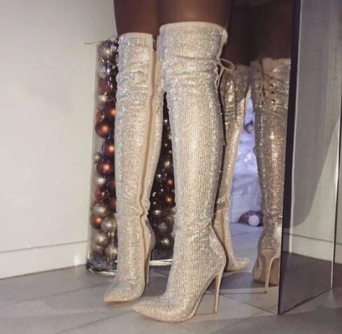 Sexy Bling Bling Crystal Embellished Over Knee Boots Womens Pointed Lace-up Zipper Fashion Long Boot Rhinestone Tight High boot цены онлайн