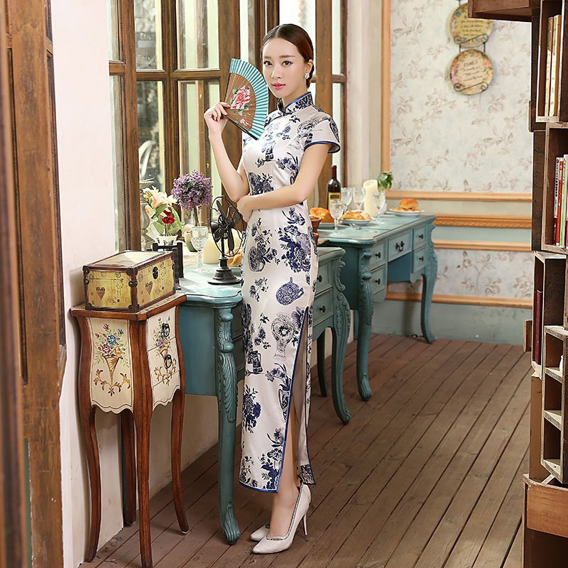 Classic Chinese Women s Silk Cheongsam Traditional Style Long Qipao ... 9dbd41a2f22d