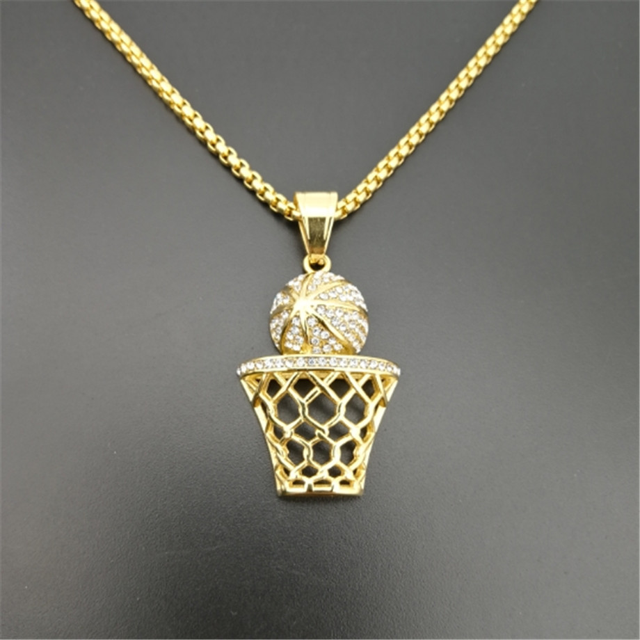 Men 39 s Necklace Basketball Pendant With Stainless Steel Chain And Iced Out Bling Rhinestones Necklace Hip Hop Sports Jewelry in Pendant Necklaces from Jewelry amp Accessories