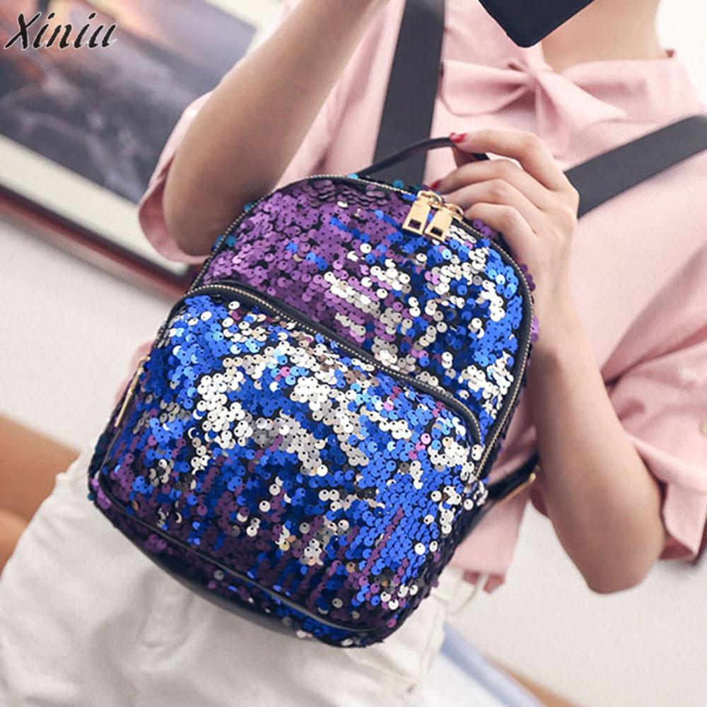 backpack women Fashion School Style shiny Sequins Satchel school bags for teenagers high quality mochila escolar sac a dos femme british style printing vintage backpack female cartoon school bag for teenagers high quality pu leather backpack sac a dos femme