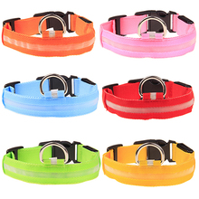Adjustable Nylon Night Safety LED Flashing Glow Neck Strap Puppy Pet Dog Collar