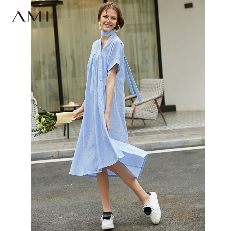 Amii Minimalist Causal Women Striped Dresses Spring Summer 2019 Vintage Short Sleeve Asymmetrical Belt V Neck