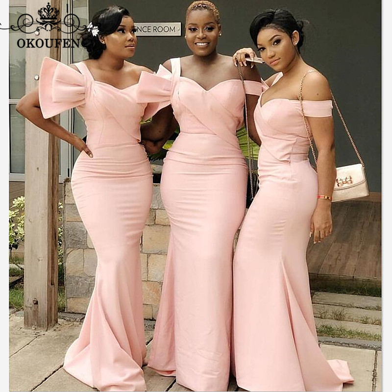 Newest Long Mermaid Long   Bridesmaid     Dresses   In Light Pink Satin 2019 Sweetheart Neck Party   Dress   Maid Of Honor For Women