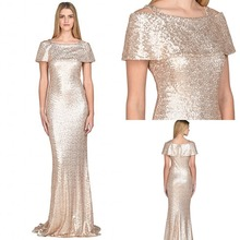 2017 Rose Gold Sequins Evening font b Dresses b font Formal Sexy With Short Sleeves font