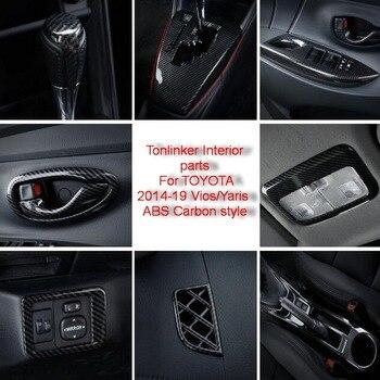 Tonlinker פנים Mouldings כיסוי מקרה מדבקות עבור טויוטה Vios/יאריס 2014-19 רכב סטיילינג 1/8 PCS ABS פחמן כיסוי מדבקות