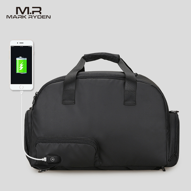 Mark Ryden Homens Viajam Saco Sacos de Grande Capacidade À Prova D' Água Para Os Homens de Negócios Multifuncional Saco Da Bagagem de Recarga USB