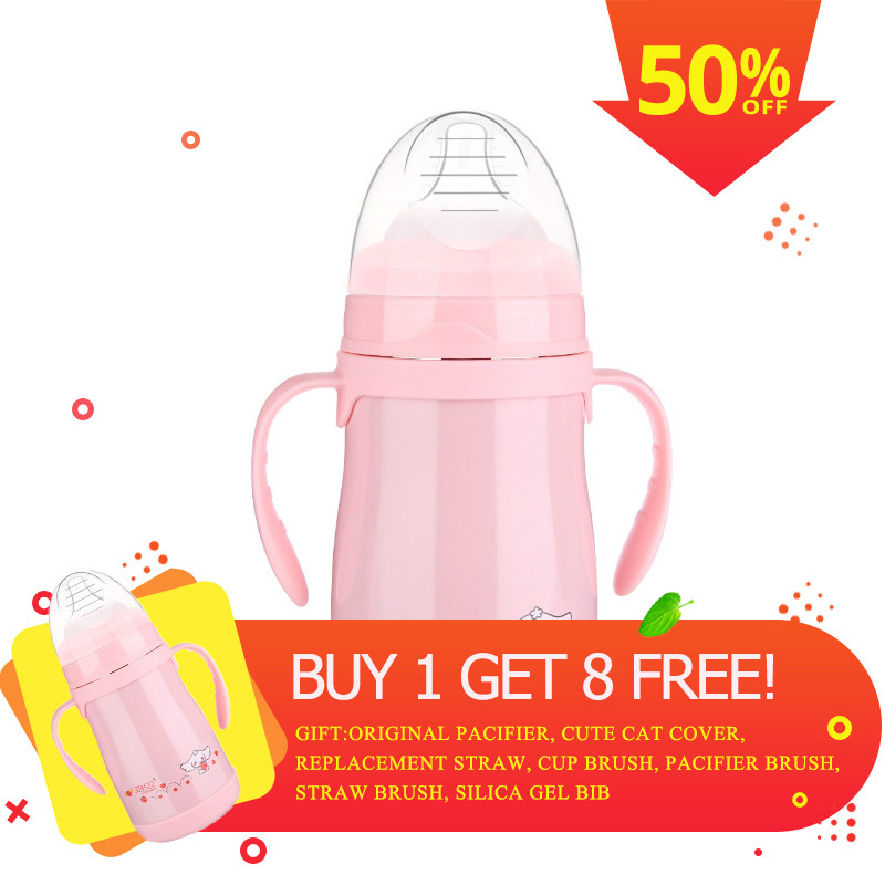 Baby Bottle Feeding Cup with Handle Drinking Water Milk Portable Milk Travel Cup Kids Feeding Bottle Multifunction Training Cup