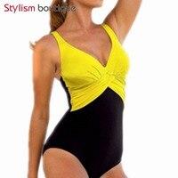 2017 Sexy Plus Size Swimwear Women Patchwork One Piece Swimsuit Solid Bodysuit Deep V Beachwear Retro