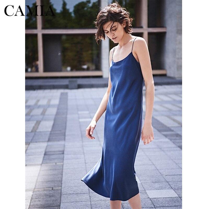 CAMIA 100% soie pure bleu sexy confortable haut court femmes robe