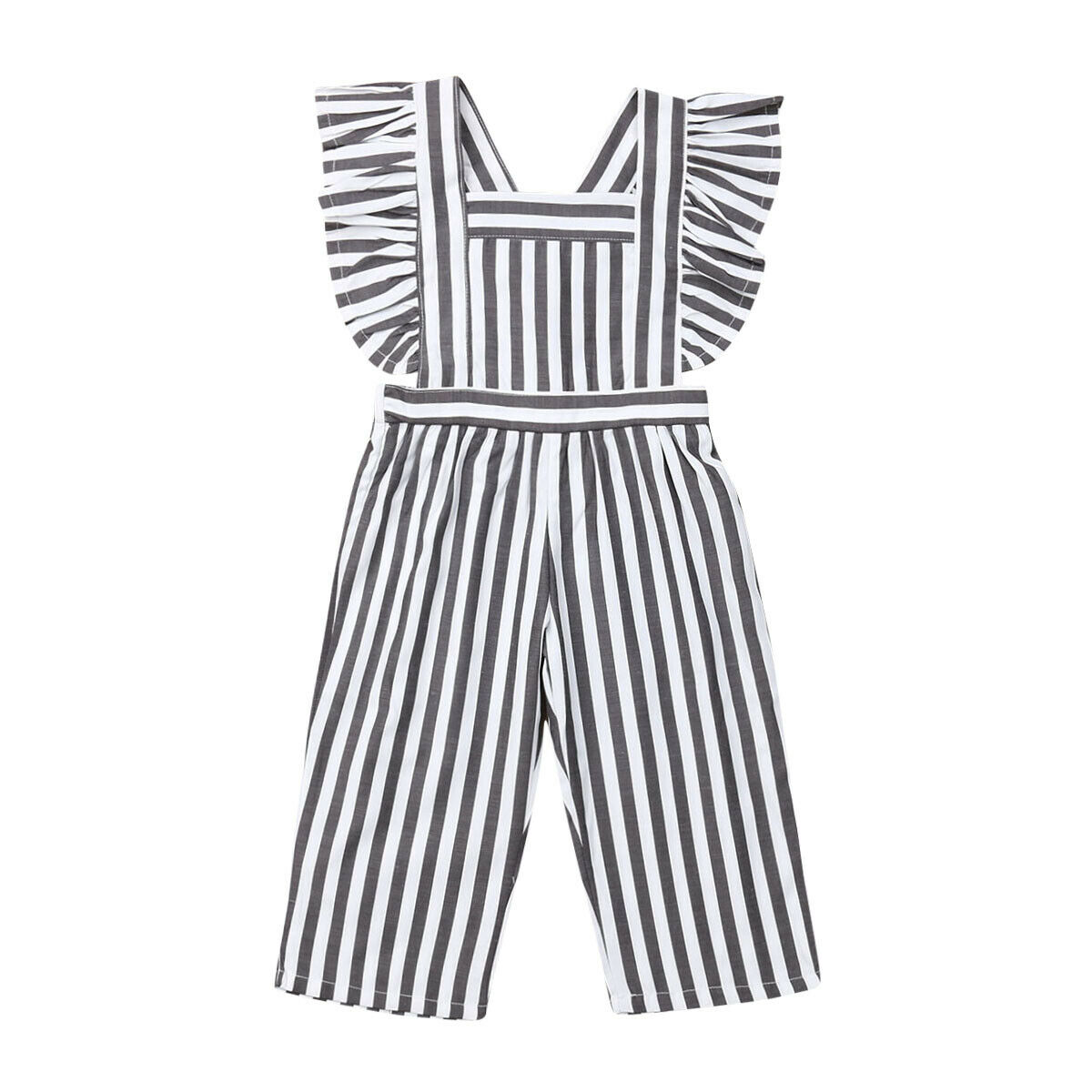 Toddler Baby Girls Striped Ruffle Jumpsuit Long Pants Fly Sleeve   Rompers   Overalls One Piece Outfit Summer Clothes