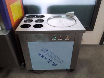 Roll ice cream pan maker fryer, fried yogurt maker machine single pot with 6 refrigerated flat bucket