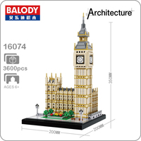 16074 World Famous Architecture Elizabeth Tower Big Ben Model Micro DIY Mini Building Blocks 3D Assembly Toy Collection