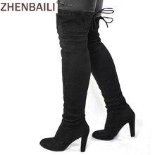 Wanita Faux Suede Paha Tinggi Boots Mode Over the Knee Boot peregangan Kawanan Seksi Di Atas Lutut High Heels Sepatu Wanita Hitam Merah Abu-abu