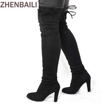 9d1fa55e Botas altas Faux Suede de mujer a la moda sobre la rodilla bota elástica  Flock Sexy Overknee tacones altos zapatos de mujer negro rojo gris