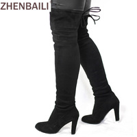 Women Faux Suede Thigh High Boots Fashion Over The Knee Boot Stretch Sexy Overknee High Heels