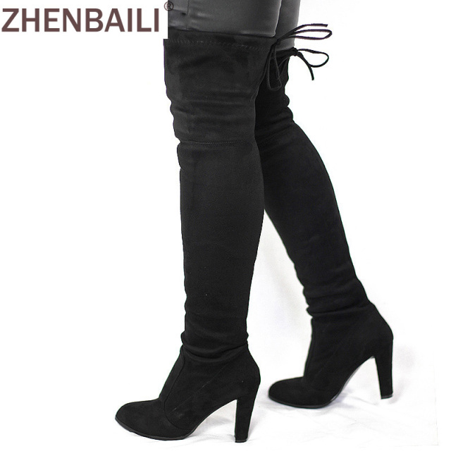 Women Faux Suede Thigh High Boots Fashion Over the Knee Boot Stretch Flock Sexy Overknee High Heels Woman Shoes Black Red Gray