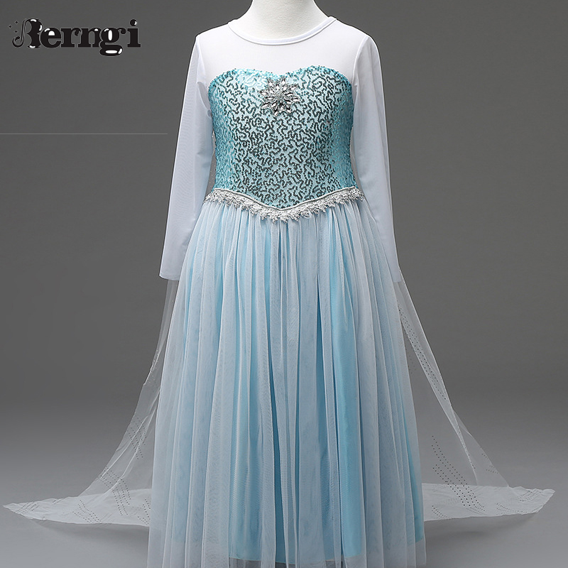 Retail 2017 Sequins Elsa Dress Costomes Party Cosplay Dress Anna Girl Dress Princess Elsa Floor Length Costume for Children 3-8Y anna elsa cosplay wig ponytail for