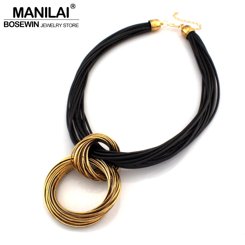 MANILAI Cluster Vintage Cross Alloy Circle Pendant Lots of Black Leather Chain Necklaces Accessories Fashion Jewelry For Women vintage alloy hollowed body chain