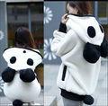2016 fashion new style Women's Winter Batwing Cartoon Panda Bear Fleece Hoodie Hooded Outerwear Coat