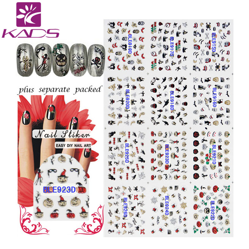 (20/50/100pcs) Halloween Style Skull Pumpkin Water Decals Nail Art 3d Design Nail Tips Accessory Decoration for Nails