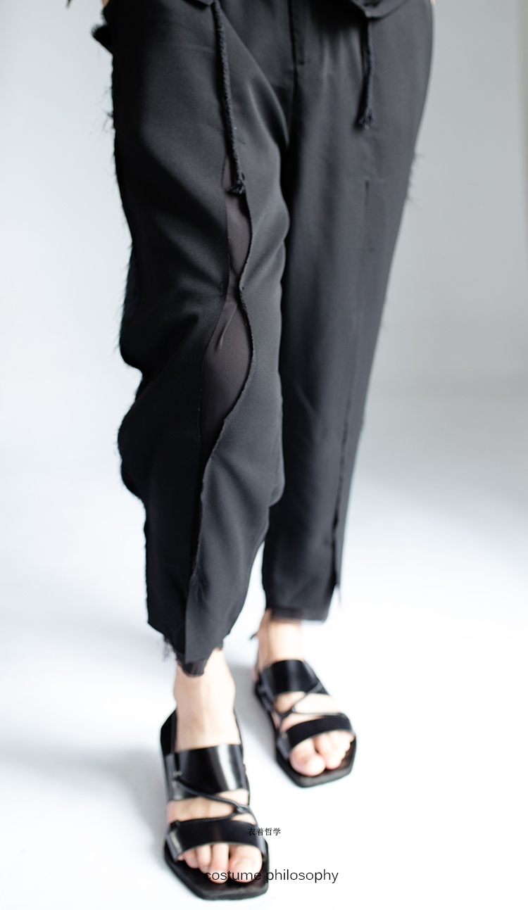 27-44 Spring and summer thin men style break the hole casual pants 9 pants tide stylist style double male walking show clothe