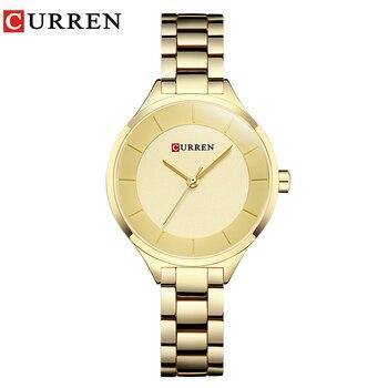 CURREN 9015 Watch Women Casual Fashion Quartz Wristwatches Ladies Gift Creative surface relogio feminino rose blue дамски часовници розово злато