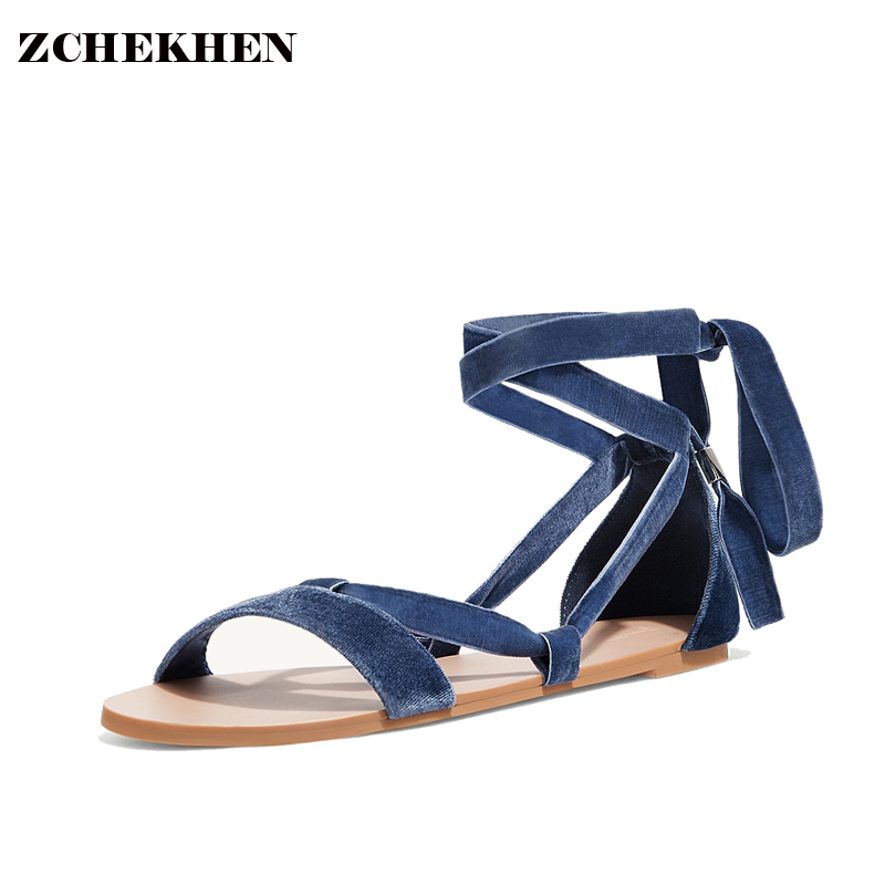 Fashion Women velvet Gladiator Sandals Outdoor Casual Summer Shoes Sandals strap Platform Shoes Cross-tied Woman beach Sandals phyanic 2017 gladiator sandals gold silver shoes woman summer platform wedges glitters creepers casual women shoes phy3323