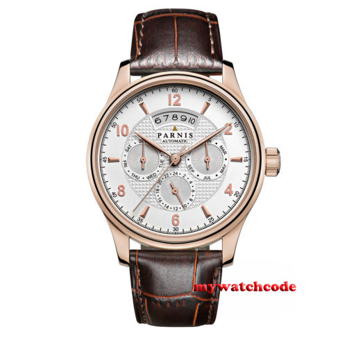 лучшая цена 42mm parnis white dial date window 26 jewels miyota Automatic mens Watch P576