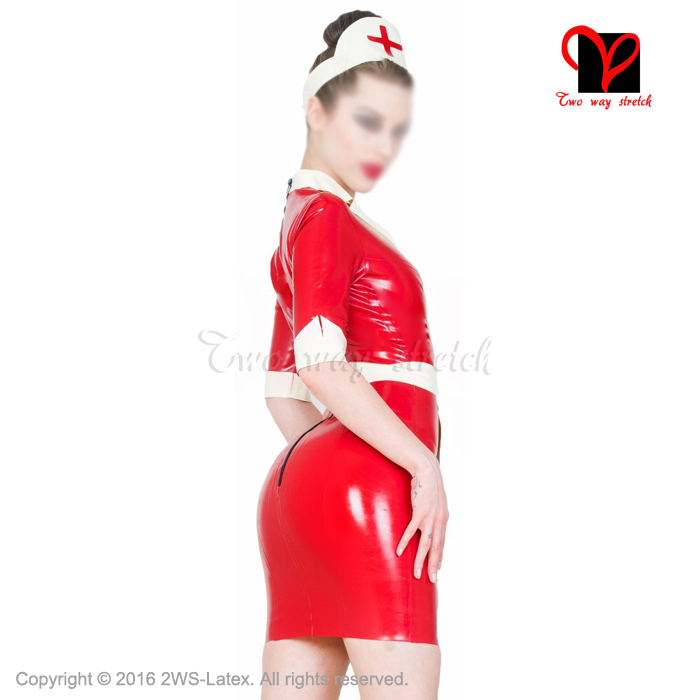 Sexy Latex Nurse Dress And Apron Head Gear Rubber Doctor Uniform Short Sleeves Playsuit Plus Size Medical Bodycon Xxxl Qz 046 In Babydolls Chemises From