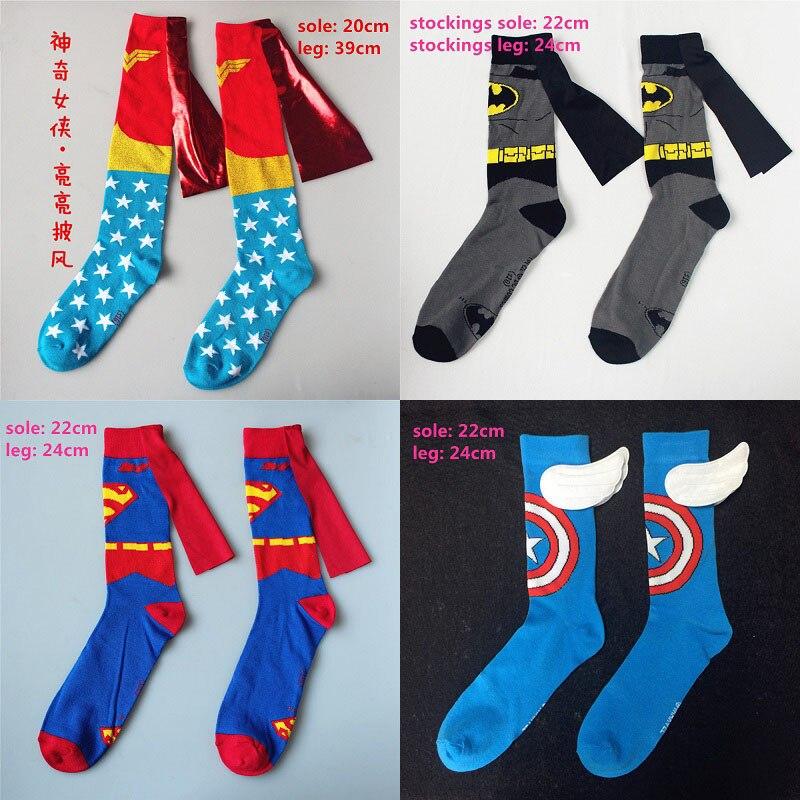 men-women-batman-wonder-woman-cosplay-stockings-adult-knee-high-cartoon-calf-socks-font-b-marvel-b-font-iron-man-spiderman-casual-socks