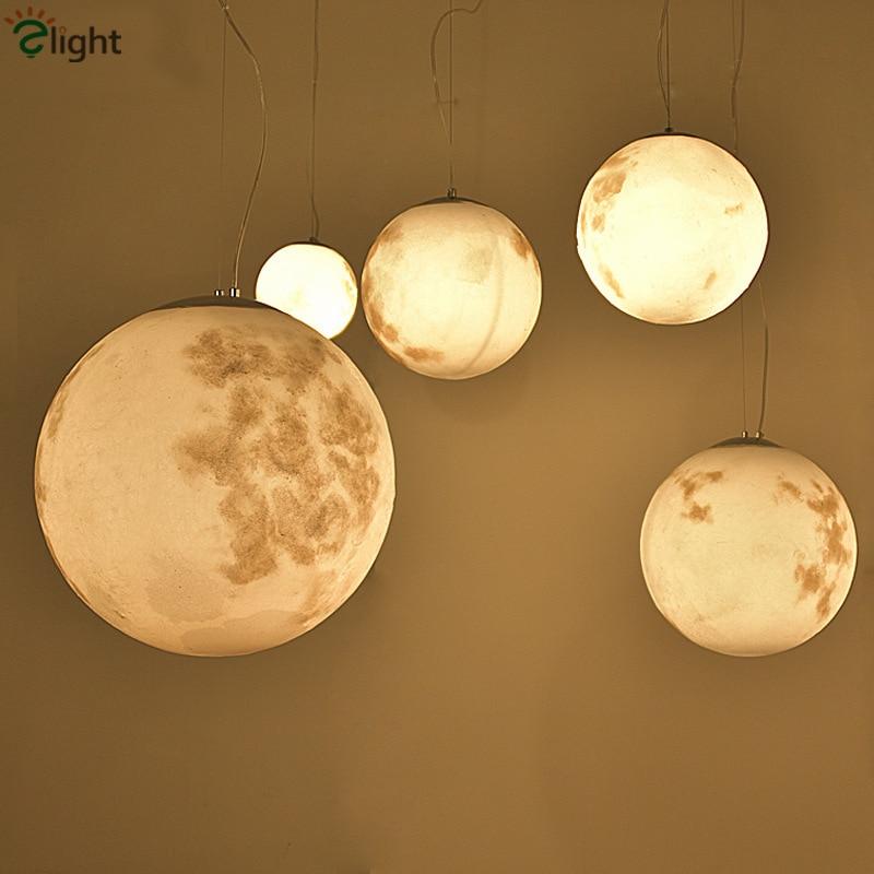 купить Post Modern Round Moon Led Pendant Light Nordic Acrylic Bar Pendant Lighting For Bedroom Hanging Fixtures Lustre Lamparas по цене 5898.1 рублей