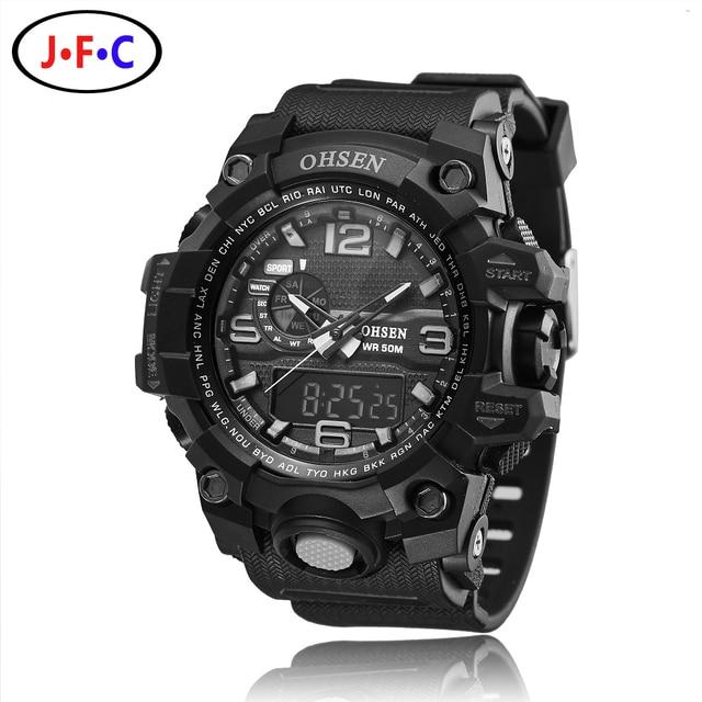 Top sale OHSEN digital quartz wristwatches mens boys 30M waterproof rubber strap black military outdoor sport men watches gift