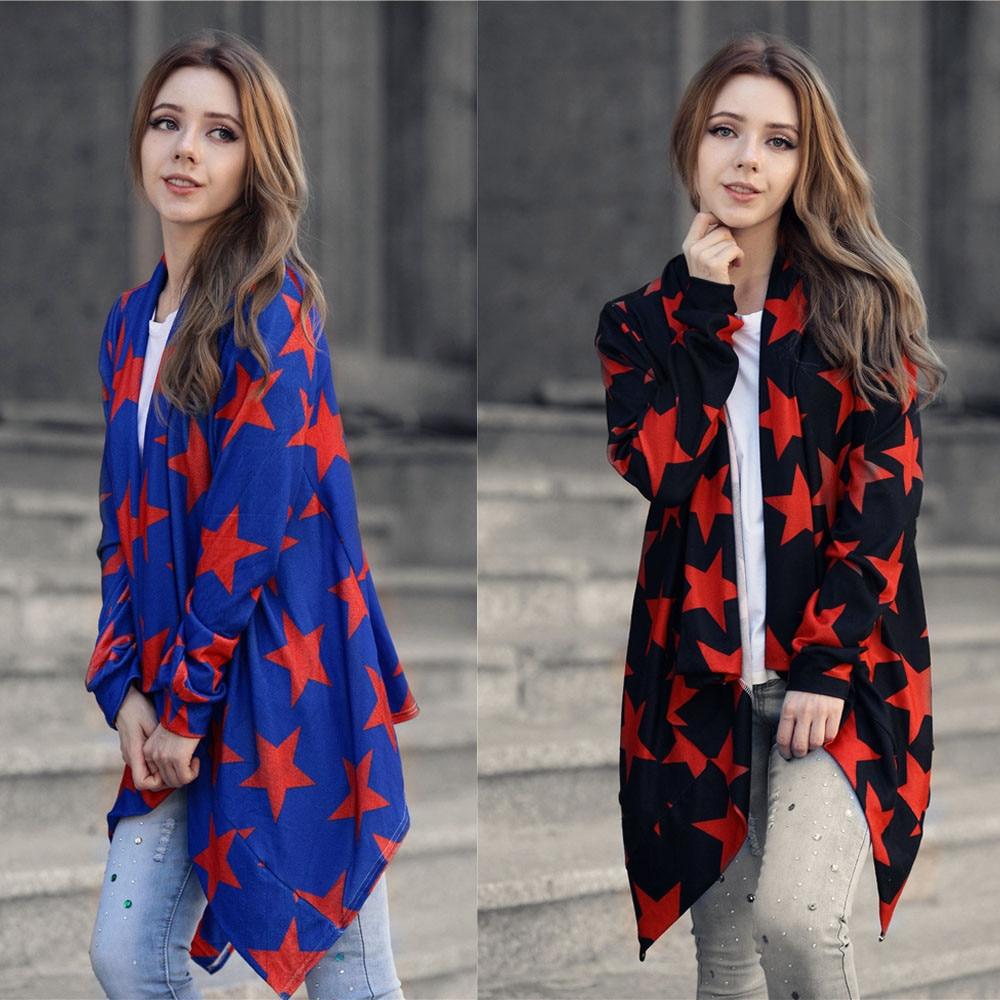 2017Fashion Women Spring Autumn Irregular Long Sleeve Cardigans Star Print Wide Lapel Loose Long Outwear Cardigan Coat Plus Size