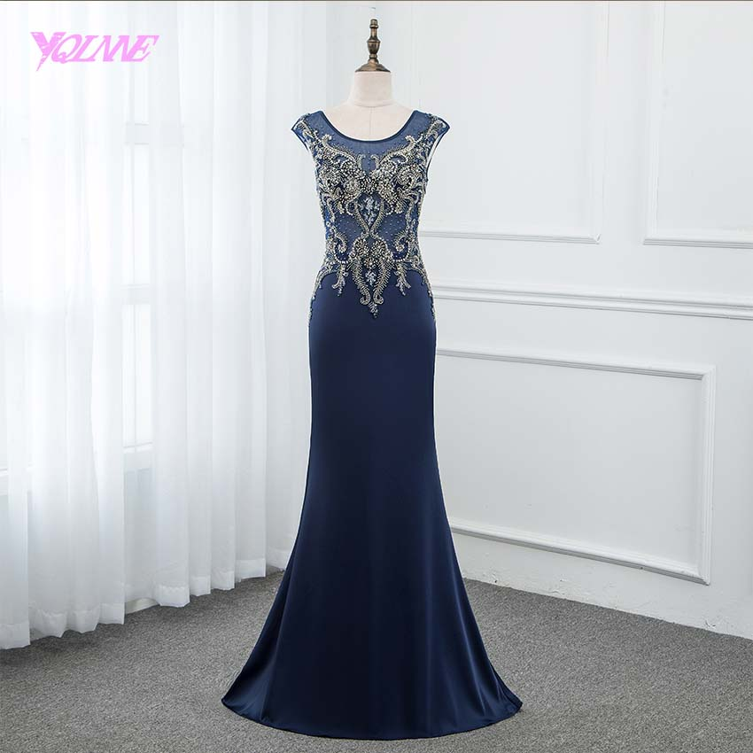 YQLNNE 2019 Long   Prom     Dresses   Formal Evening Gown Navy Blue Knitting Crystals Beaded Mermaid   Dress