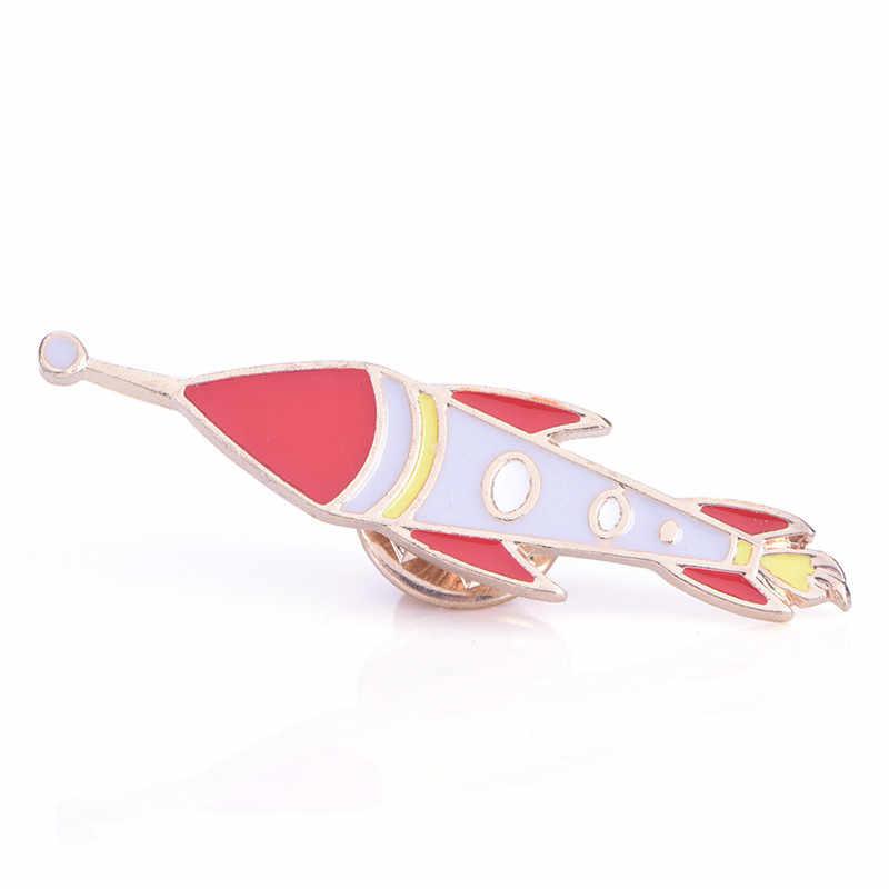 Kartun Bros Fashion Lucu Meteor Alien Teleskop Pesawat Roket Red Planet Bulan Bintang Dekorasi Pins Wanita Perhiasan Hadiah