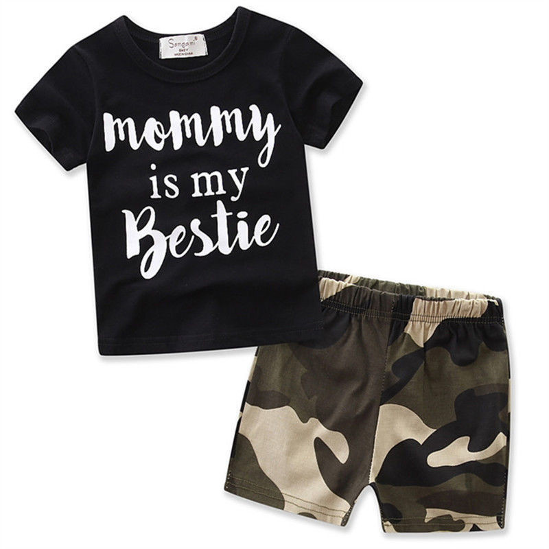 Summer Boy clothes sets Letter kids clothing sets cotton 2pcs short sleeve boys t shirt camouflage