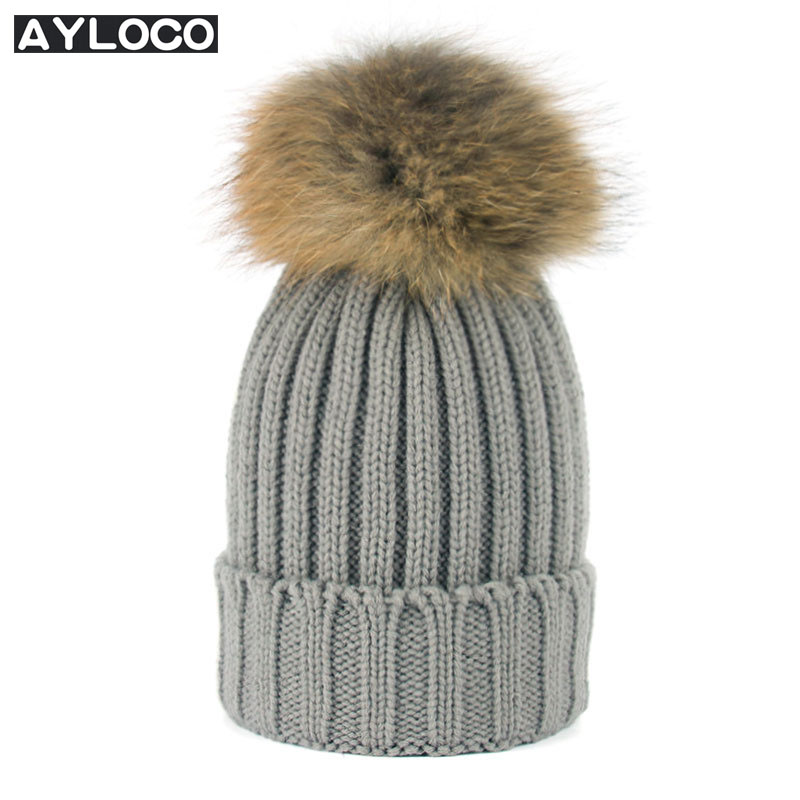 AYLOCO Real Mink Fur Pom Poms Knitted Hat Ball Beanies Winter Hat For Women Girl 'S Wool Hat Cotton Skullies Female Cap 2016 real mink solid adult pom poms knitted hat ball beanies winter for women girl s wool skullies brand new thick female cap