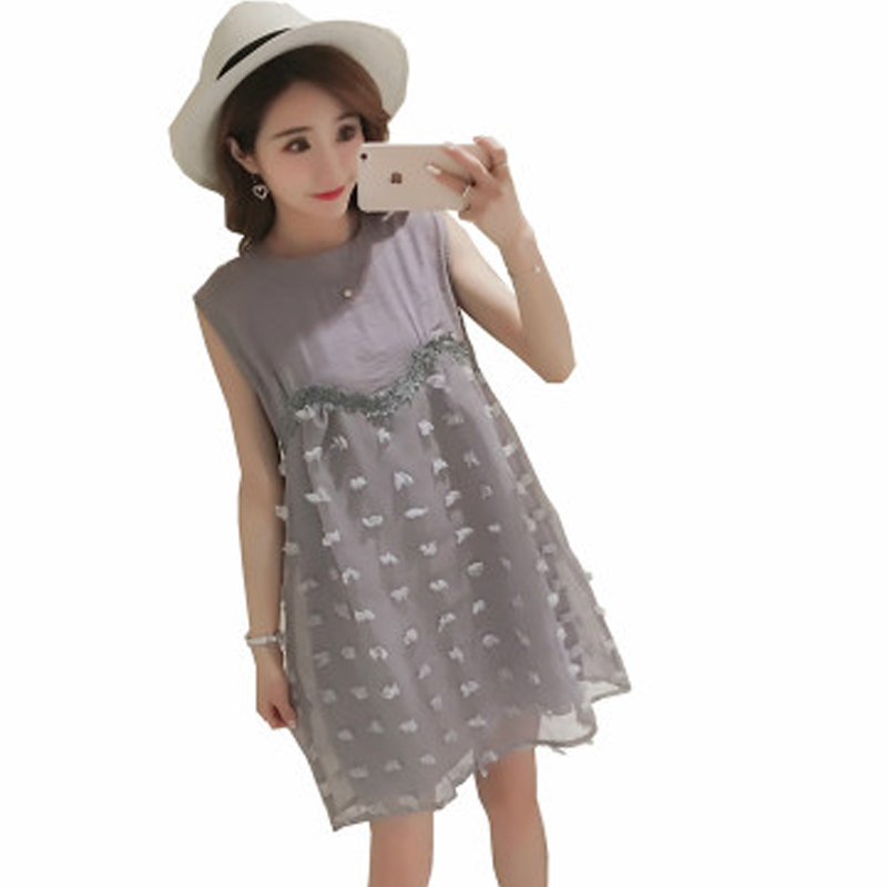 Glittery Sweet 2018 Maternity clothes Korean Version New Summer Pregnant women Skirt Fashion Net yarn Splice Sleeveless Dress