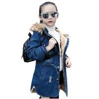 2016 Girls Jacket Denim European Girls Jeans Jacket Hole Hooded New Children Trench Coat Cashmere Fur