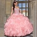 Pink Rebordear Blusa Corsé Vestidos de Quinceañera 2015 Cariño Piso de Las Colmenas Largo Organza vestido de Bola del Debutante Dulce 16 Vestido