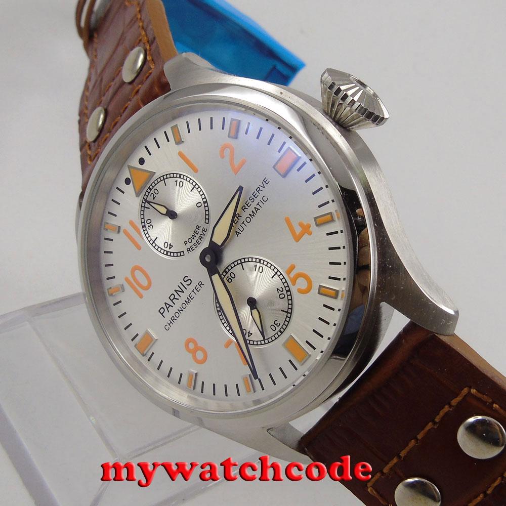 купить 47mm parnis white dial power reserve seagull 2542 automatic mens watch P96 по цене 6026.86 рублей