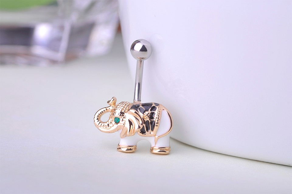 HTB1EnhPHVXXXXXlaXXXq6xXFXXXK Cute Gold Body Piercing Jewelry Elephant Navel Ring - 2 Colors
