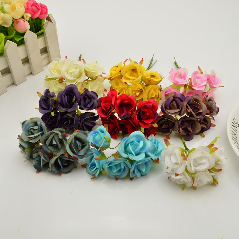 6 pieces   lot mini silk artificial rose flowers bouquet wedding decoration  for diy scrapbooking handmade. Compare Prices on Handmade Decoration Pieces  Online Shopping Buy