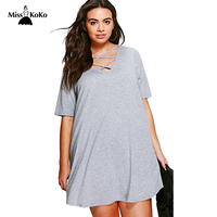Misskoko Neckline Cross Cut Out 2017 Fashion Women Dress Large Size  Brief Short Sleeve Summer Solid Lace Up Casual Basic Dress